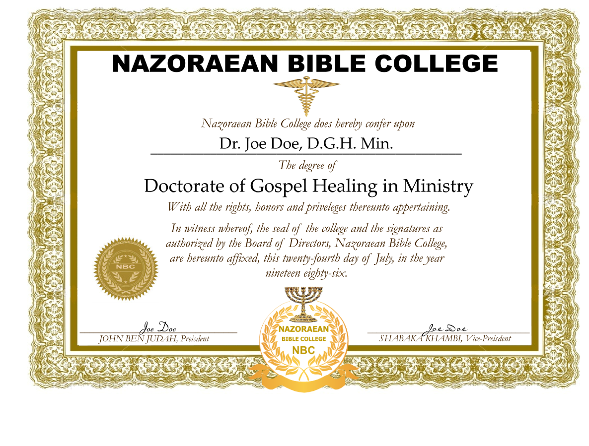 i am gospel prayer center nazoraean bible college degrees nazoraean bible college degrees are awarded to all people of faith who wish to apply for them you do not have to be ordained us to receive these